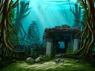 Ancient town ruins. Underwater background.