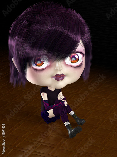 Girl with big head sitting on the parquet floor. 3D render.