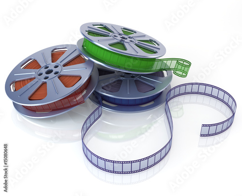 3D rendering of a three multicolored film reels