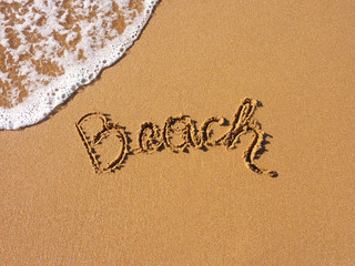 beach, written in the sandy beach