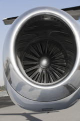 Close-up view of jet engine.