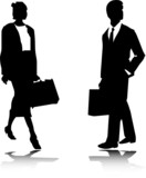woman and man with bag illustration