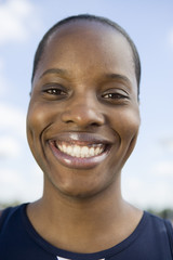 Smiling female athlete, portrait