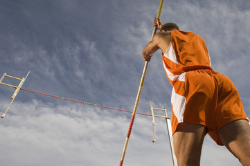 pole-vaulter preparing for jump