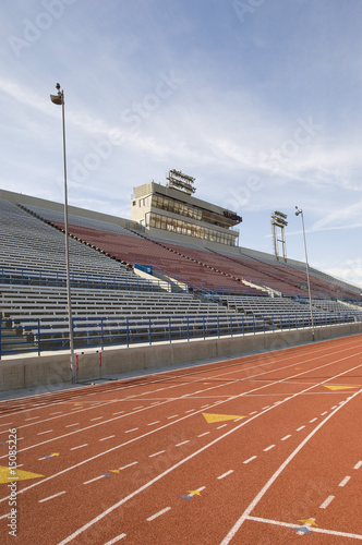 Empty Running Track and Grandstand