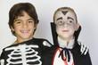 Portrait of boys 7-9 wearing Halloween costumes