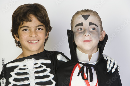 Portrait of boys 7-9 wearing Halloween costumes