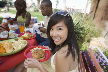 Young Woman at Barbecue, Portrait