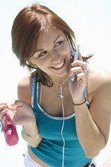 Teenage Girl 18-19 Talking on Mobile, Smiling
