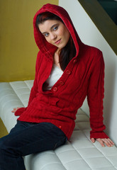 girl in red clothes