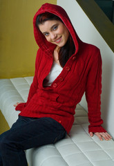 girl in red clothes smiling