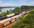 Kansas, USA, freight trains, elevated view