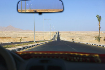 Sharm el Sheikh, Egypt, view through taxi windscreen