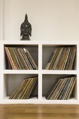 Vinyl records in shelf