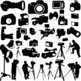 cameraman,photographers and cameras - vector poster