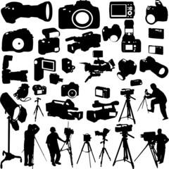 cameraman,photographers and cameras - vector