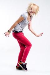 Dancing teenage girl