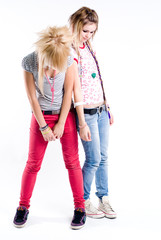 Sad trendy girls