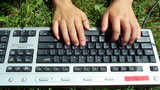 typing on grass