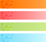 Banners with leaves floral design and butterflies in four color