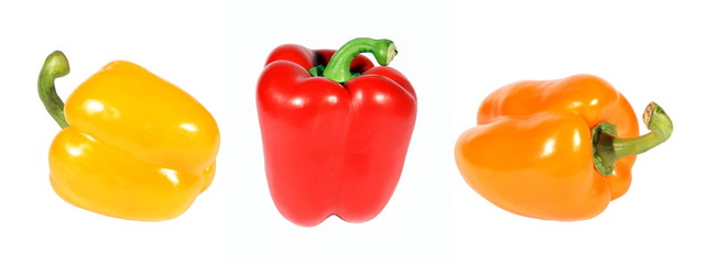 Red yellow orange pepper on a white background. (isolated)