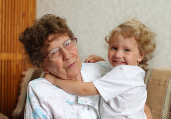 Happy prograndmother with the granddaughter