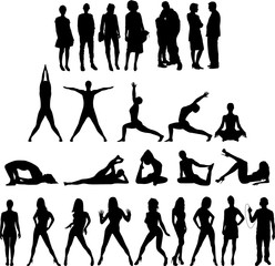 Collection of People Silhouettes 27 Figures.