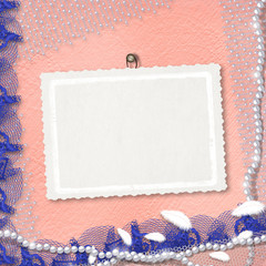 Card for anniversary or congratulation with pearls and blue lace