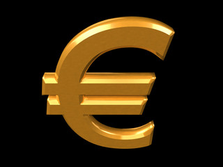 Golden Euro symbol isolated on a black (3D rendering)