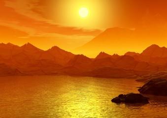 Sunset on a sea. 3d scene