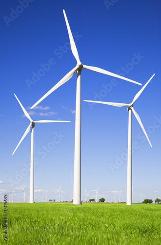 Windmills against blue sky - 15115635