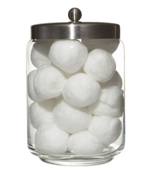cotton balls in a pot