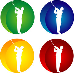 Silhouette of a man with golf-club and abstract background
