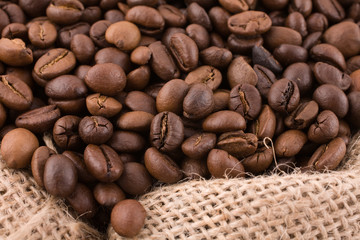 coffe beans in a sack close look