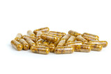 Pile of homeopathic pills with bee pollen poster