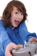 cute teenage girl playing playstation