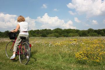 cyclo-touriste campagne champ de fleurs