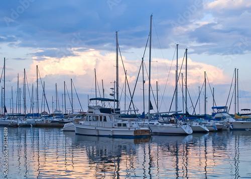 Fotobehang Koraalriffen Boats and yachts moored in harbour