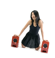 asian girl wit loudspeakers