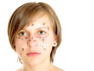 Marked face for plastic surgery