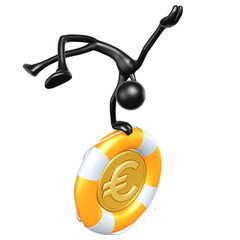 3D Character With Lifebuoy Euro Coin
