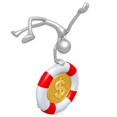 3D Character With Lifebuoy Dollar Coin
