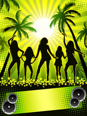 Palm-beach disco-party card on green background