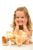 Happy girl with her little chickens - Fine Art prints