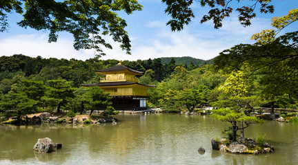 Kinkakuji Temple, famous Golden Pavilion Temple in Kyoto Japan.