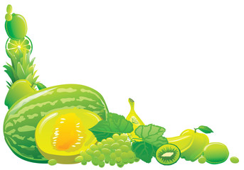 Green fruit corner. Vector illustration.