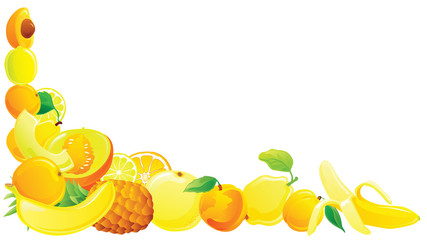 Yellow fruit corner. Vector illustration