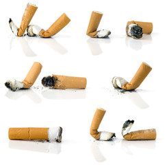 Cigarette butts isolated on white background