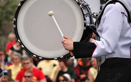 Drummer Playing Bass Drum in Parade - 15141270