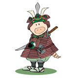 Japanese warrior pig